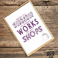 'Workshop' Wedding Card, What The Duck Cards, Funny Cards, Rude Cards