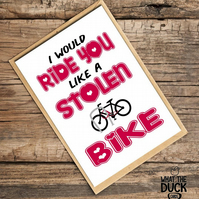 'Bike' Valentines Day Card, Love Card, What The Duck Cards, Fun Card, Rude Card