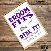 'Broom' Birthday Card, What The Duck Cards, Funny Cards, Rude Cards