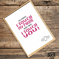 'Touch' Anniversary Card, Love Card, What The Duck Cards, Funny Cards, Rude Card