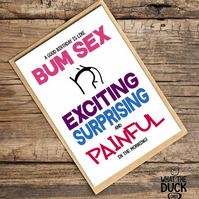 'Bum' Birthday Card, What The Duck Cards, Funny Cards, Rude Cards