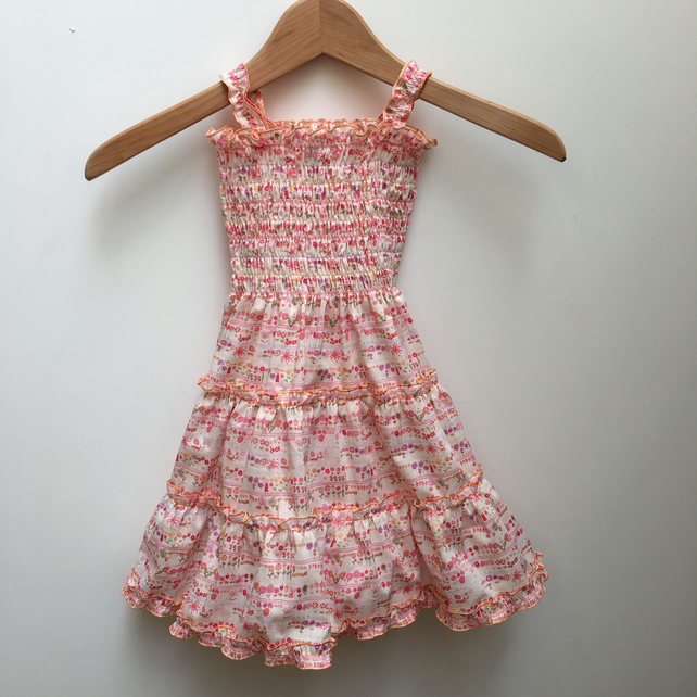 Summer dress age 4 years in pink Liberty cotton fabric