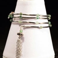 Green Aventurine Memory Wire Bracelet with Tassel.