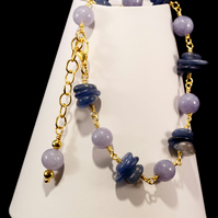 Kyanite & Aquamarine Gemstone Rosary Linked Bracelet. March Birthday Birthstone