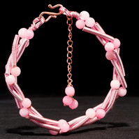 Pink Morganite Gemstone Wire Bracelet & Rose Gold Hook. Scorpio Birthstone