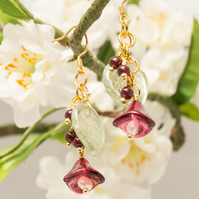 Ruby Flower Earrings. Garnet Gemstones & FWC Pearl. 925 Gold Plate Hooks