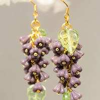 "Lilac Wisteria Cluster Earrings. 2.5"". 6 Grams. Flower Lovers & Woodland Wedding"