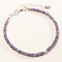 Luxury Tanzanite Faceted Rndelle Gemstone Bracelet. December Birthstone.