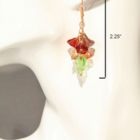 "Flower Earrings. Amber Czech Glass & Lemon Quartz Gemstones. 2.25"" x 4 Grams."
