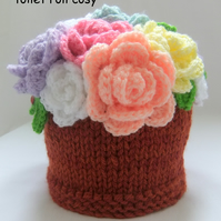 Flower Pot of Spring Roses toilet roll cosy