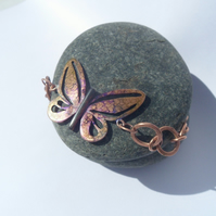 Copper and Ink Butterfly Bracelet