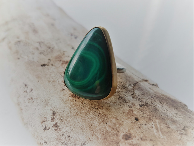 Malachite Triangle Stone Set Ring