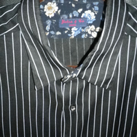 Black and white chalk stripe casual shirt, dramatic contrast