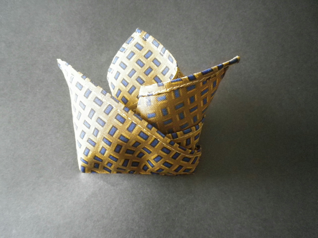Navy on mustard ground  pure silk pocket square, free UK shipping