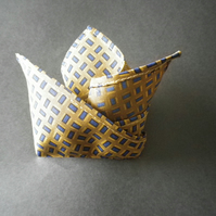 Navy on mustard ground  pure silk pocket square