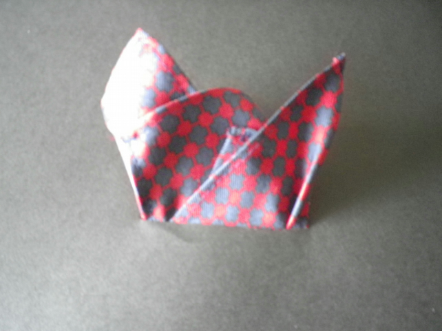 Navy red pure silk pocket square, free UK shipping