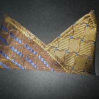 Elegant gold with navy highlights  pure silk pocket square