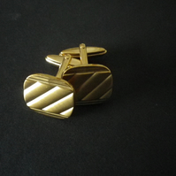 Gold plated groove design, soft edge rectangle cufflink,  free UK shipping......