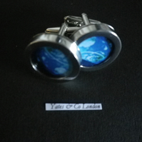 The Earth from Space cufflinks, Rhodium plated alloy base, swivel shank action