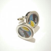 Abstract Art cufflinks , Rhodium plated alloy, swivel shank , free UK shipping..