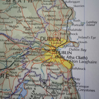 Dublin, World City Maps, printed on recycled cotton rag, beautiful present......