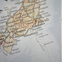 Tokyo, World City Maps, printed on recycled cotton rag, beautiful present.......