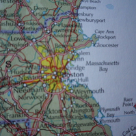 Boston, World City Maps, printed on recycled cotton rag, beautiful gift..