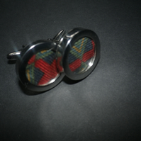 Red highlight abstract design inlaid English vintage silk cufflinks