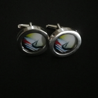 1950s Dodgem Car cufflinks highly polished silver finish swivel action shank