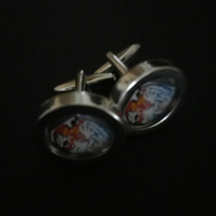 Bengal Tiger cufflinks, highly polished silver finish swivel shank action
