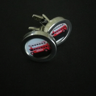 1930s London Bus cufflinks, highly polished silver finish swivel shank action