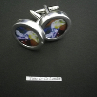 Champagne Freddy the Frog graphic art cufflinks rhodium base , free UK shipping.