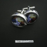 Champagne Freddy the Frog graphic art cufflinks rhodium base swivel shank action