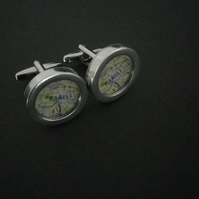 Paris ( or YOUR city!) cufflinks,lovely silver finish, swivel shank, great gift