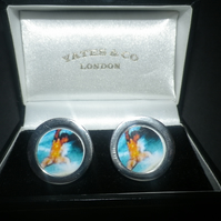Surfer cufflinks, brilliant image , really special gift for that special someone