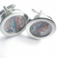 Indian Chief cufflinks highly polished silver finish, free UK shipping..