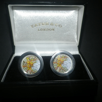 Boston, (or YOUR city! ) cufflinks,lovely silver finish, swivel shank great gift