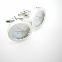 Rome (or YOUR city!)  cufflinks, rich silver finish, swivel shank, great gift