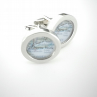 New York (or YOUR city!) cufflinks rich silver finish, swivel shank, great gift