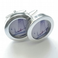 Sail Boat cufflinks, elegant depiction of a  super sport, free UK shipping....