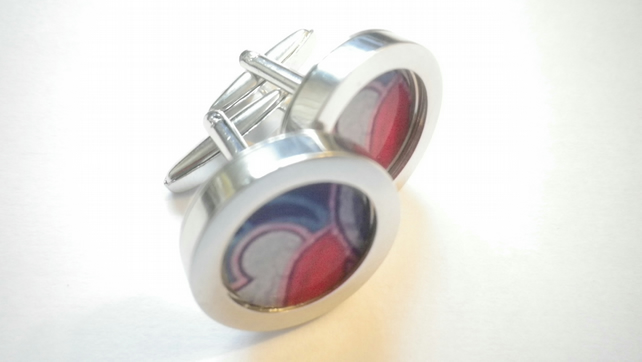 Red Blue Grey abstract art cufflinks, vibrant elegant design,free UK shipping..