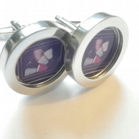 Six Cups abstract art cufflinks, unusual & distinctive design, free UK shipping.