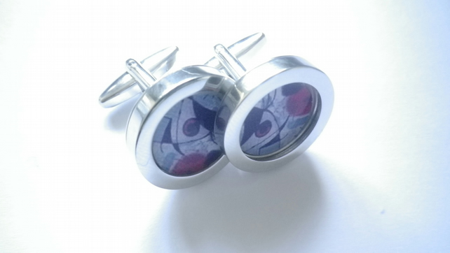 Picasso inspired abstract art cufflinks, vibrant, stylish, free UK shipping...