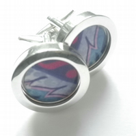 Pink Waves abstract art cufflinks, dramatic and stylish, free UK shipping....