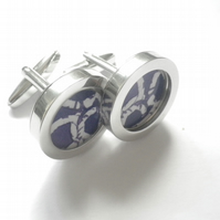 White on blue rope design abstract art cufflinks, great combo, free UK shipping.