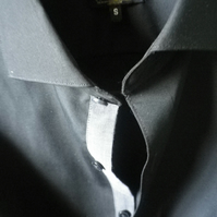 Black cutaway collar contrast placket single cuff formal or casual shirt