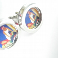 1930s Boating Scene cufflinks, lovely fresh colours and image..