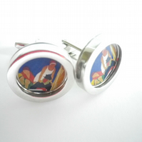1930s Boating Scene cufflinks, lovely fresh colours and image, free UK shipping