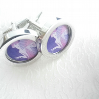 1920s Flapper cufflinks, soft pastels, lovely romantic image, free UK shipping