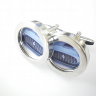 1972 Ferrari cufflinks, elegant powder blue,  desirable car, free UK shipping